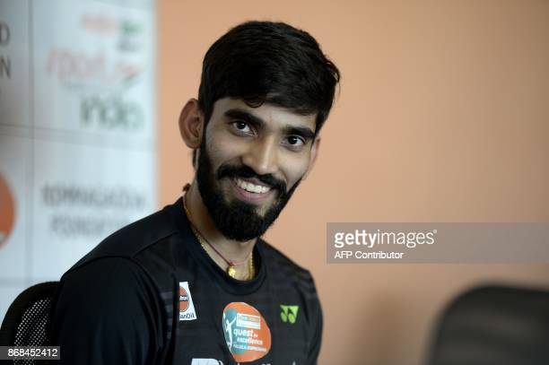 Indian badminton player Kidambi Srikanth speaks during a press conference in Hyderabad on October 31 2017 Kidambi won in 2017 the men's singles...