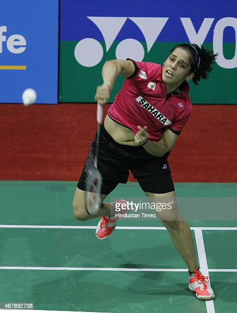 Indian badminton player Saina Nehwal in action against Yui Hashimoto badminton player from Japan during the Yonex Sunrise India Open Badminton...