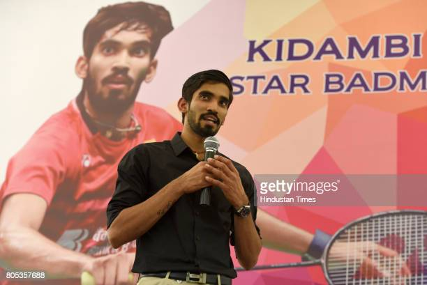 Indian Badminton Player Srinkanth Kidambi speaks at his fecilitation in the presence of Chief National Coach for Indian Badminton Team P Gopichand...