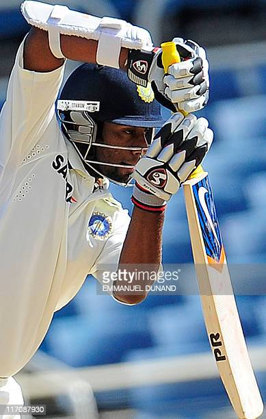 Indian batsman Abhinav Mukund plays a shot during the second day of the first test match between West Indies and India at Sabina Park in Kingston...