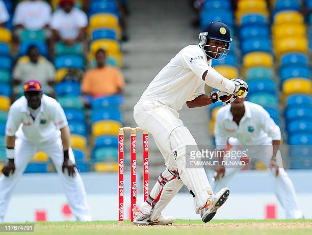 Indian batsman Abhinav Mukund plays a shot during the third day of the second test match between West Indies and India at Kensington Oval in...