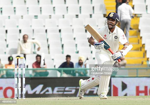 Indian batsman Ajinkya Rahane plays a shot against South Africa during the test match been played at PCA Stadium on November 5 2015 in Mohali India