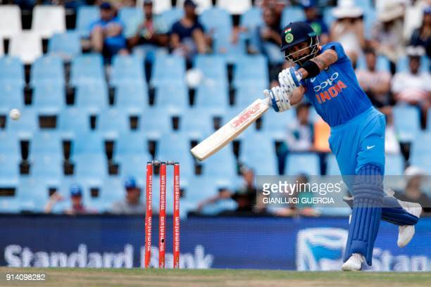 Indian batsman and Captain Virat Kohli plays a shot during the second day of the One Day International cricket match between South Africa and India...