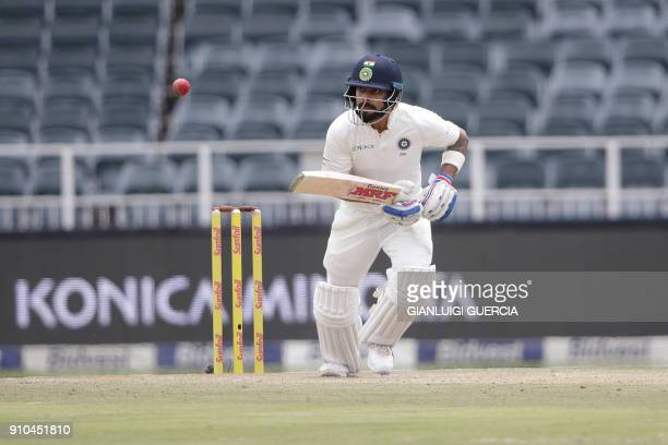 Indian batsman and Captain Virat Kohli plays a shot during the third day of the third test match between South Africa and India at Wanderers cricket...