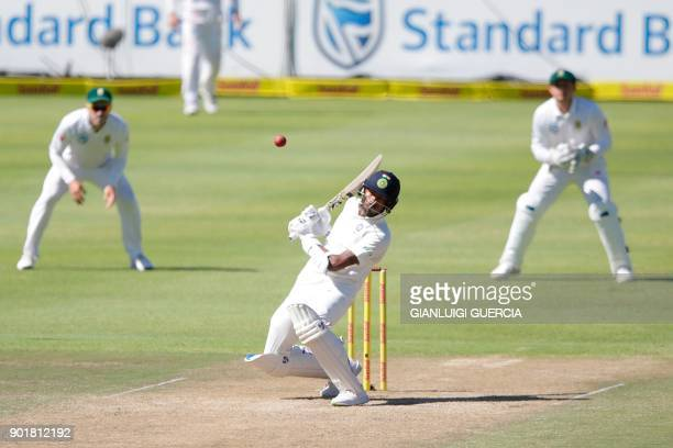 Indian batsman Hardik Pandya plays a shot during the second day of the first Test cricket match between South Africa and India at Newlands cricket...