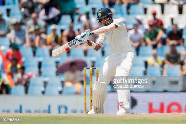 Indian batsman Lokesh Rahul plays a shot during the second day of the second Test cricket match between South Africa and India at Supersport cricket...