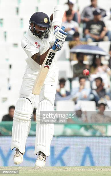 Indian batsman Maurali Vijay plays a shot against South Africa during the test match been played at PCA Stadium on November 5 2015 in Mohali India