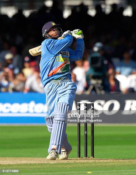 Indian batsman Mohammad Kaif hits Alex Tudor to the boundary during his 87 not out in the NatWest Series Final between England and India at Lord's...