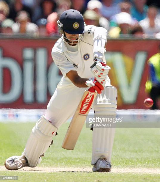 Indian batsman Rahul Dravid blocks a ball in his slow innings during the second day of the first Test match being played at the MCG in Melbourne 27...
