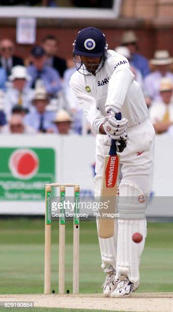 Indian batsman Rahul Dravid plays a back foot defensive stroke off the bowling of England bowler Andrew Flintoff during the third day of the first...