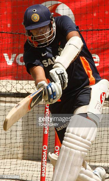 Indian batsman Ravi Ashwin practices ahead of the fourth cricket test match against Australia at the Adelaide Oval on January 23 2012 IMAGE STRICTLY...