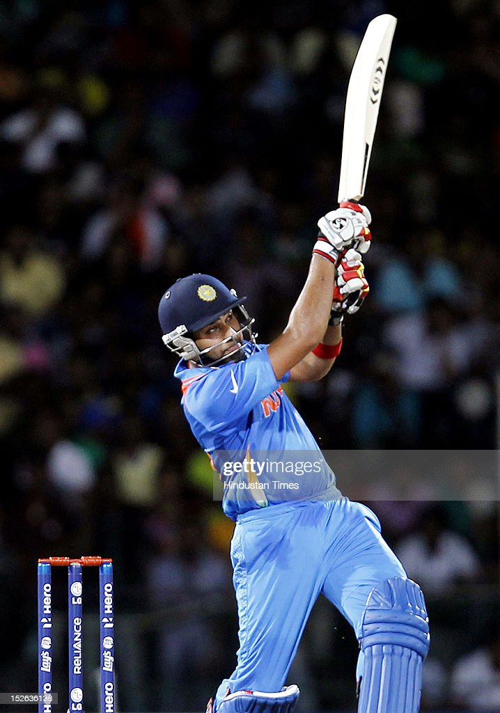 Indian batsman Rohit Sharma bats during the ICC T20 World Cup cricket match between India and England at R. Premadasa Stadium on September 23, 2012 in Colombo, Sri Lanka.