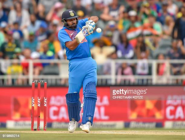Indian batsman Rohit Sharma plays a shot during the 1st T20I cricket match between South Africa and India at Wanderers cricket stadium in...