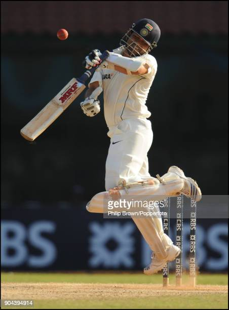 Indian batsman Sachin Tendulkar avoids a bouncer during the 1st Test match between India and England at MA Chidambaram Stadium Chennai India 12th...
