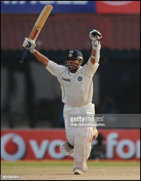 Indian batsman Sachin Tendulkar celebrates after hitting the boundary to win the 1st Test match between India and England at MA Chidambaram Stadium...