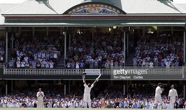 Indian batsman Sachin Tendulkar celebrates his century in front of the packed Sydney Cricket Ground members stand during the Australia V India test...