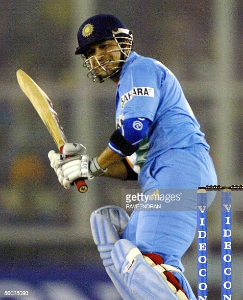 Indian batsman Sachin Tendulkar watches the ball to boundary during the second oneday international match against Sri Lanka at Punjab Cricket...