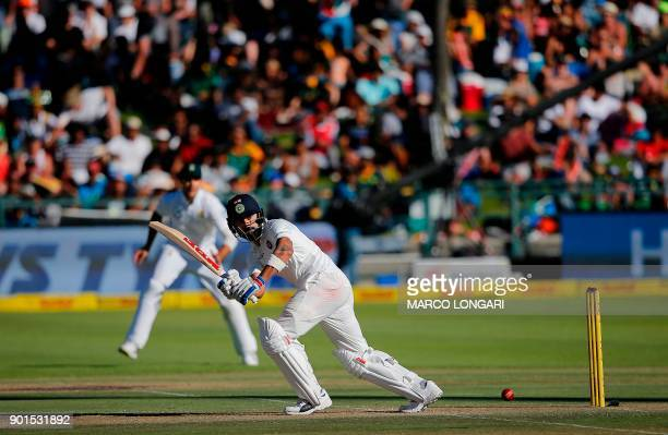 Indian batsman Virat Kohli plays a shot during the first day of the first Test cricket match between South Africa and India at Newlands in Cape Town...