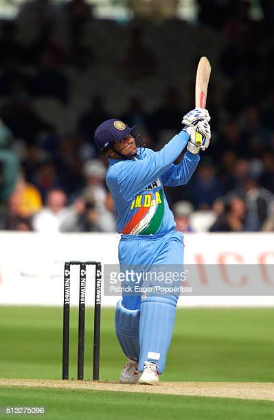 Indian batsman Virender Sehwag hits Matthew Hoggard for 4 during his 71 in the NatWest One Day International between England and India at Lord's...