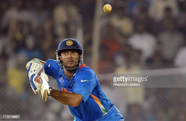 Indian batsman Yuvraj Singh plays a shot during the quarter-final match of The ICC Cricket World Cup 2011 between India and Australia at The Sardar...