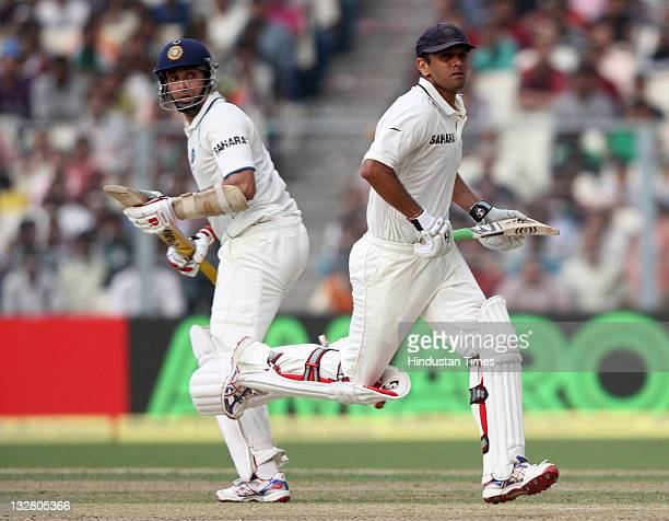 Indian batsmen Rahul Dravid and VVS Laxman running between the wickets in course of their partnership during the first day of second Test match...