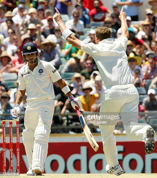 Indian batsmen Virat Kohli loses his wicket to Australian fast bowler Peter Siddle who wrapped up the innings and Australia winning third cricket...