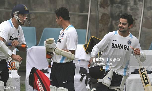 Indian batsmen Yuvraj Singh Rahul Dravid and Virat Kohli during a training session on November 4 2011 at The Feroz Shah Kotla Stadium in New Delhi...