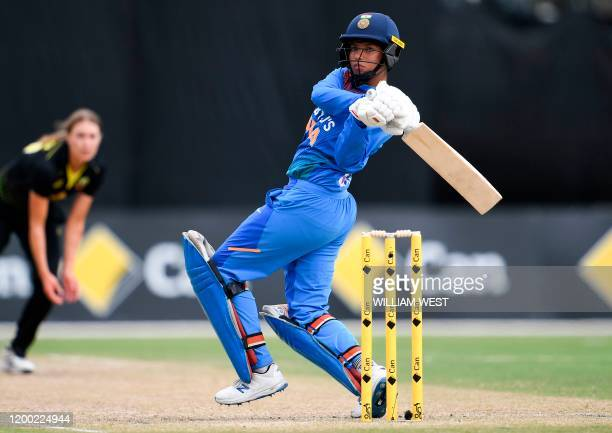 Indian batswoman Richa Gosh pulls a delivery away from Australia's Tayla Vlaeminck in the final of their women's Twenty20 international triseries...