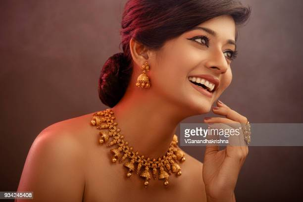 indian beauty portrait with jewelry - necklace stock pictures, royalty-free photos & images