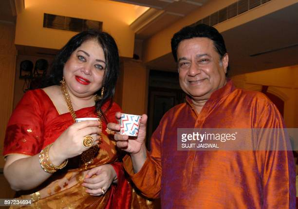 Indian Bhajan and Ghazal singer Anup Jalota and playback singer Madhumita Chatterjee attend the launch of a new music album 'Tum Bin' in Mumbai on...