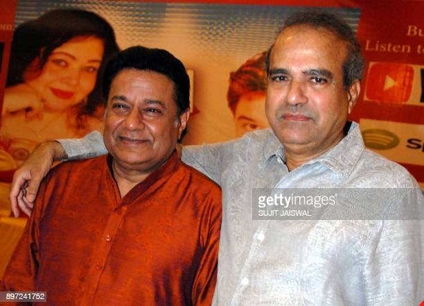 Indian Bhajan and Ghazal singer Anup Jalota and playback singer Suresh Wadkar attend the launch of a new music album 'Tum Bin' in Mumbai on December...