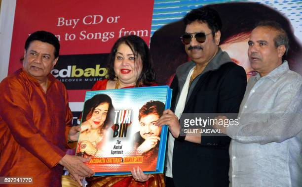 Indian Bhajan and ghazal singer Anup Jalota playback singers Madhumita Chatterjee and Kumar Sanu and Suresh Wadkar attend the launch of a new music...