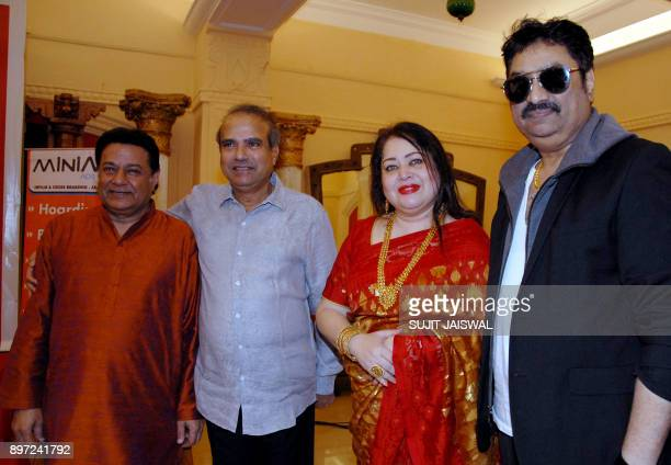 Indian Bhajan and Ghazal singer Anup Jalota playback singers Suresh Wadkar Madhumita Chatterjee and Kumar Sanu attend the launch of a new music album...