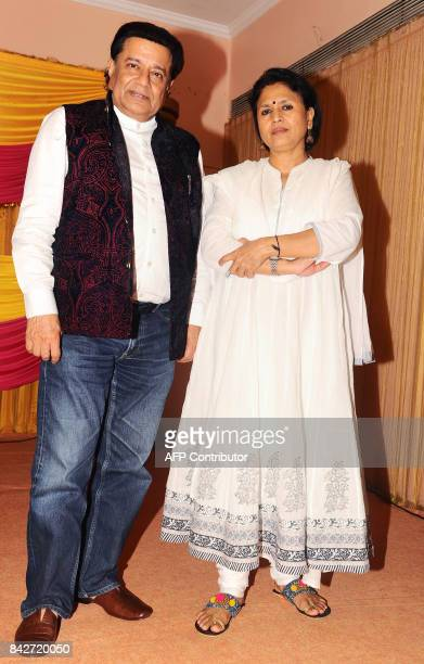 Indian Bhajan singer Anup Jalota attends the music launch of the upcoming Hindi film Mr Kabaadi directed by Seema Kapoor in Mumbai on September 4...