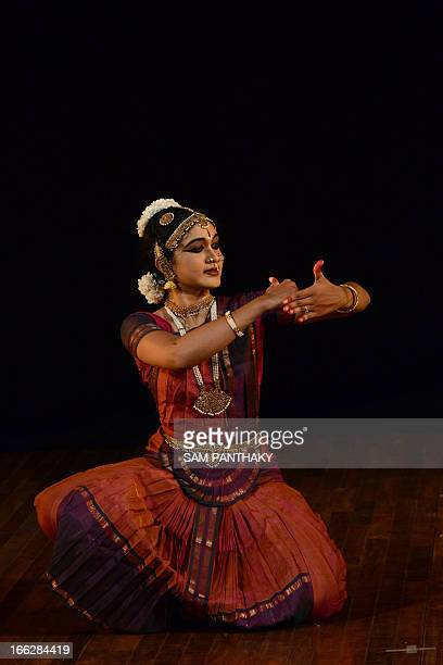 Indian Bharata Natyam dancer S Sathvikka performs during the 'Celebrating the World of Dance' festival at Natarani Amphitheatre in Ahmedabad late...