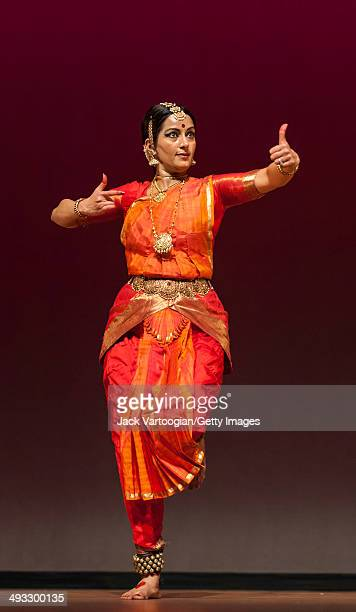 Indian Bharata Natyam dancer Vidhya Subramanian performs during the World Music Institute's 'Dancing The Gods' series at New York University's...