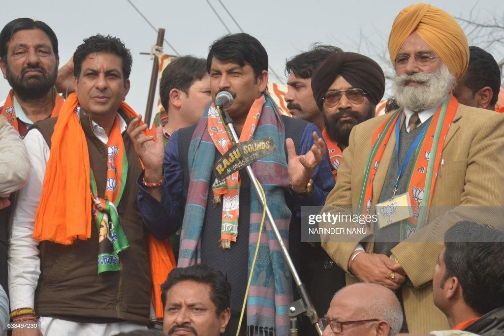 Indian bhojpuri singer actor and Delhi Bhartiya Janata Party President Manoj Tiwari BJP candidate for Member of Legislative Assembly Rajesh Kumar...