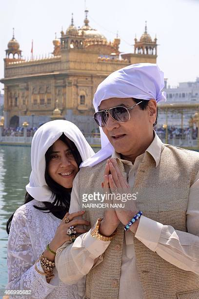 Indian Billywood actor Jeetendra along with his daughter TV and film producer Ekta Kapoor pay their respects at the Sikh Shrine Golden temple in...