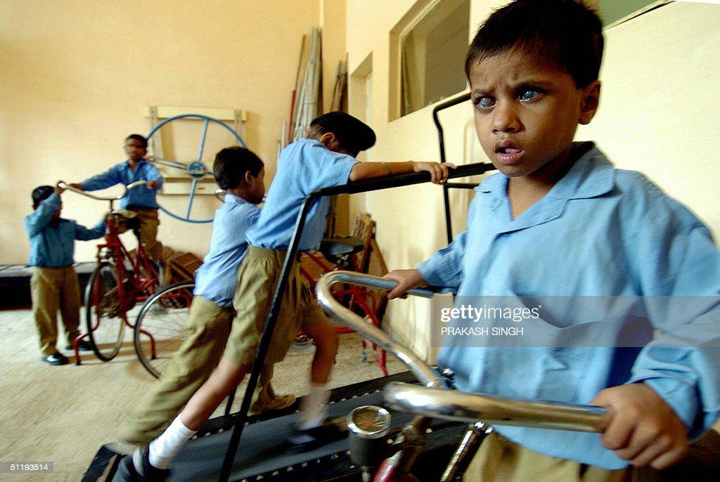 Indian Blind Students Exercise Using Gymnasium Equipment