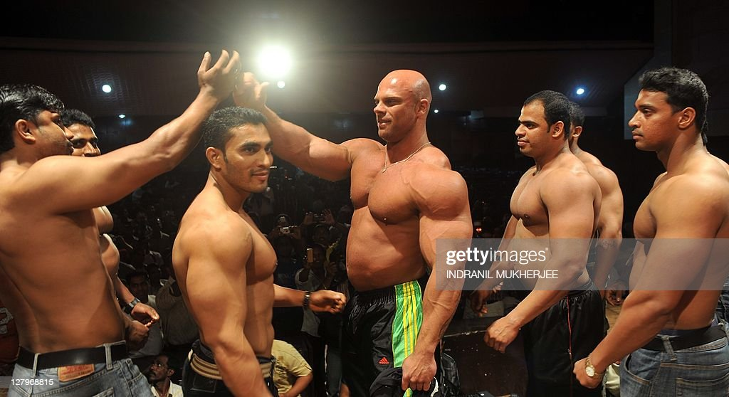 Indian bodybuilders exchange greetings w pictures getty images indian bodybuilders exchange greetings w m4hsunfo