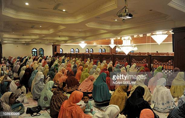Indian Bohra Muslims offer Eid prayers at the Fatemi Mosque in Hyderabad early on September 9 2010 Bohras adhere to the Shia Fatimi tradition of...