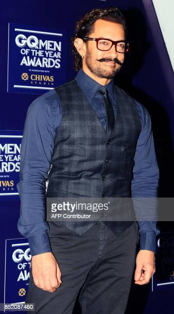 Indian Bollywood actor Aamir Khan attends GQ India's ninth anniversary with the annual Men of the Year Awards 2017 in Mumbai on September 22 2017 /...