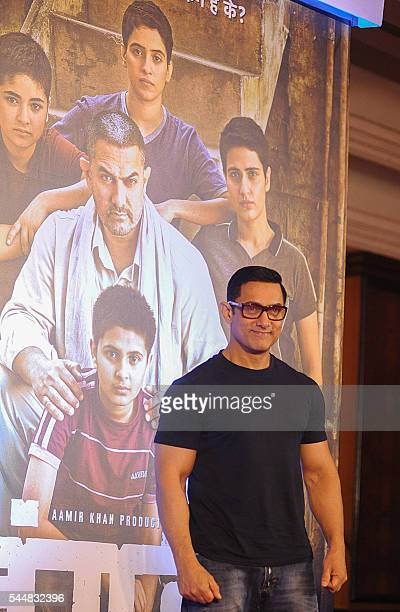 Indian Bollywood actor Aamir Khan attends the poster launch of his upcoming biographical sports drama 'Dangal' in Mumbai on July 4 2016 / AFP /