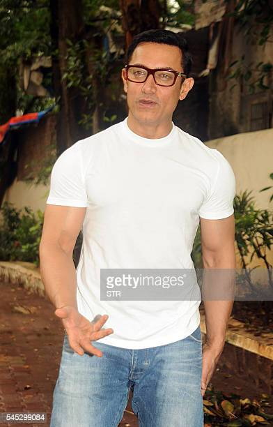 Indian Bollywood actor Aamir Khan celebrates Eid alFitr which marks the end of the holy Muslim fasting month of Ramadan in Mumbai on July 7 2016 The...