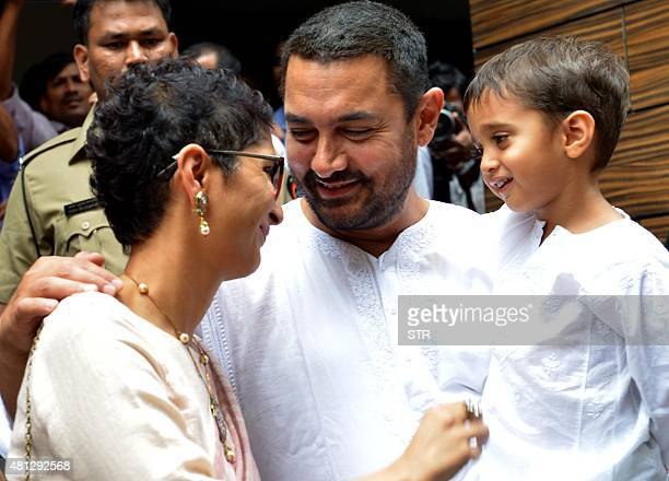 Indian Bollywood actor Aamir Khan with his wife director Kiran Rao and son Azad celebrates and wishes his fans Ramzan Eid Mubarak at his residence in...