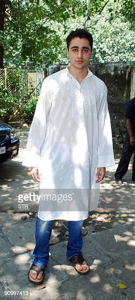 Indian Bollywood actor Aamir Khan's nephew Imran Khan celebrates Eid alFitr at his uncle's home in Mumbai on September 21 2009 The festival marks the...