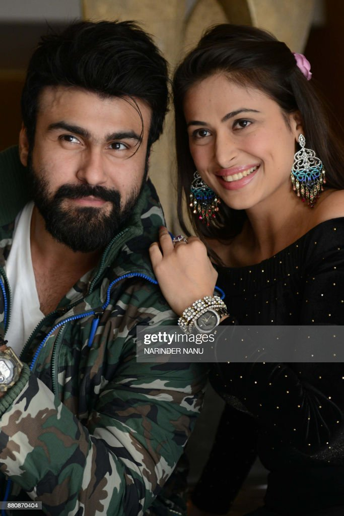 Indian bollywood actor Aarya Babbar and actress Bhani Singh pose for a photograph during a promotional event for the upcoming bollywood film `Tera...