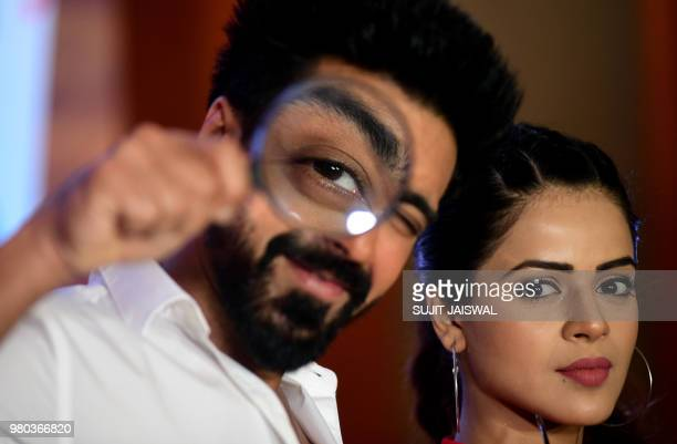 Indian Bollywood actor Aashish Chaudhary and television actress Jigyasa Singh pose during the promotion of 'Dev' season 2 aired on Colors TV in...