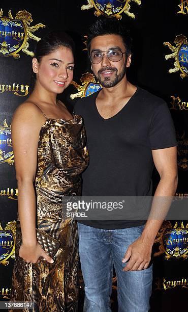 Indian Bollywood actor Aashish Chaudhary with wife Samita Bangargi attend the prewedding party of Indian Bollywood actors Ritesh Deshmukh and Genelia...