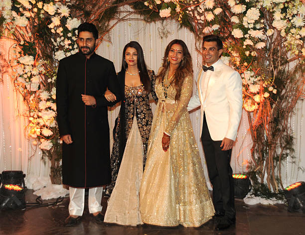 Indian Bollywood Actor Abhishek Bachchan Poses With Actress